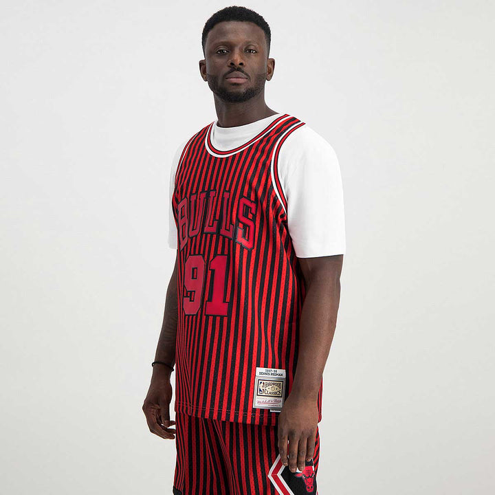 MITCHELL & NESS STRIPED SWINGMAN JERSEY RODMAN PANT RED