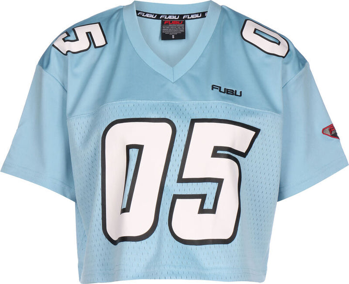 FUBU CORPORATE CROP FOOTBALL JERSEY LIGHT BLUE