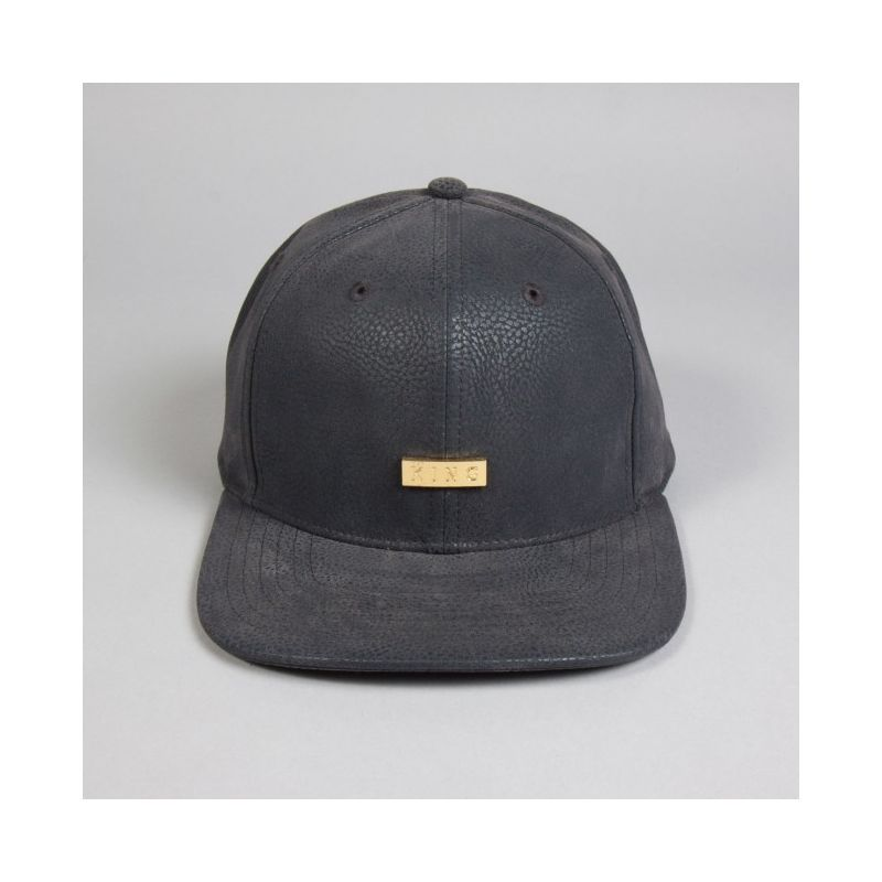 KING APPAREL CAP LUX 6 PANEL GREY LEATHER