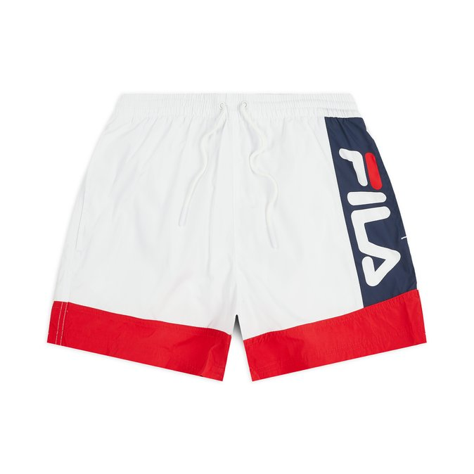FILA MEN YUMMA SWIM SHORT BRIGHT WHITE, TRUE RED AND BLACK IRIS