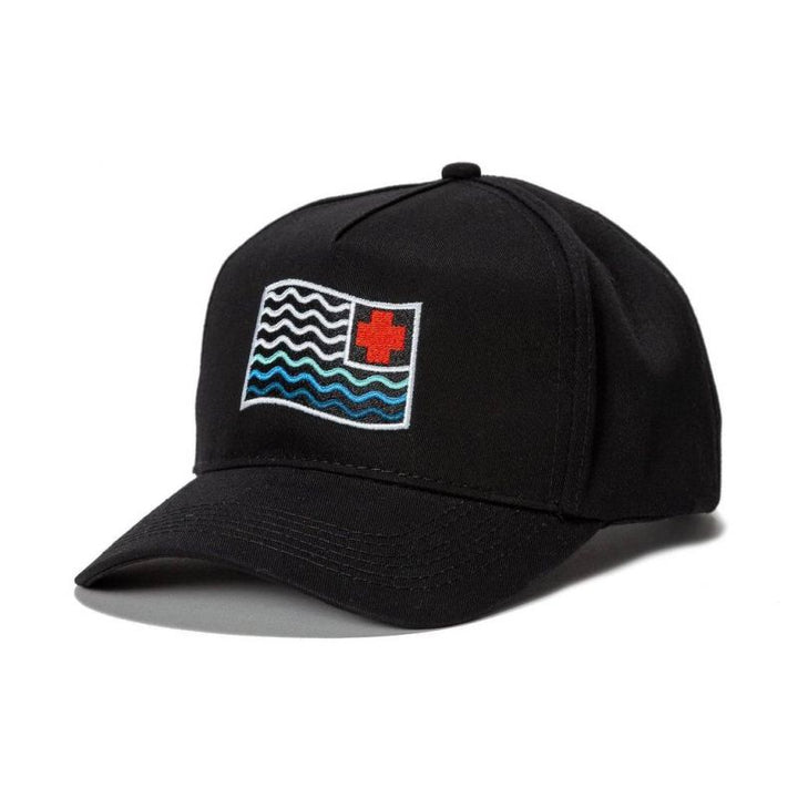 PINK DOLPHIN WAVES FLAG STRAPBACK BLACK