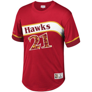 MITCHELL & NESS -NBA-NAME NUMBER MESH CREWWNECK-HAWKS-RED