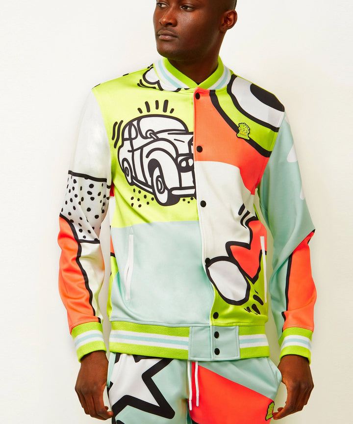 REASON CLOTHING PARTY BLOCK TRACK JACKET MULTI