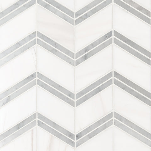BIANCO DOLOMITE CHEVRON POLISHED - 10 PACK