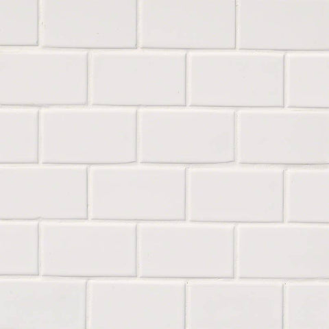 WHITE GLOSSY SUBWAY TILE 2X4 - 18 PACK