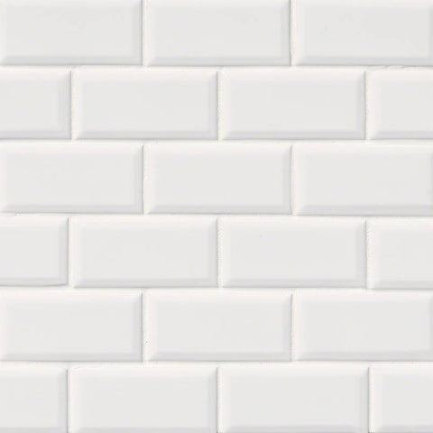 WHITE GLOSSY SUBWAY TILE BEVELED 2X4 - 18 PACK