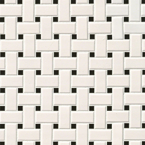 WHITE AND BLACK MATTE BASKET WEAVE - 20 PACK