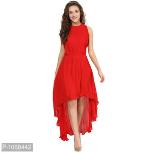 RED High-Low Maxi Dress
