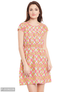 Pink Printed Crepe Trendy Midi Dress