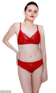 Katty Lace Bra & Panty Set For Womens