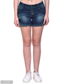 Navy Blue Solid Fit Slim Denim Shorts