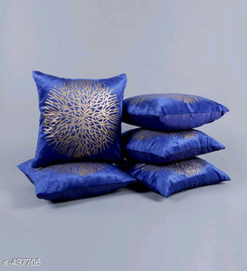 Golden Foil Printed Velvet Cushion Covers( pack of 5)