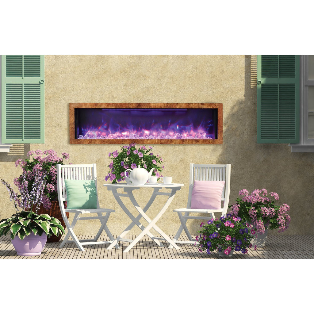 "Deep 60"" Built-In Indoor/Outdoor Electric Fireplace"
