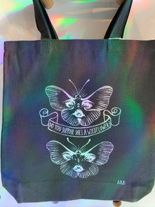 F.O. Artist Amber Rae Black: Hand Painted One-Of-A-Kind Tote Bag