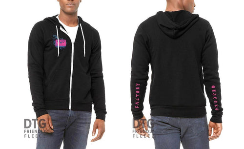 Black MIX-TAPE Zip Up Hoodie