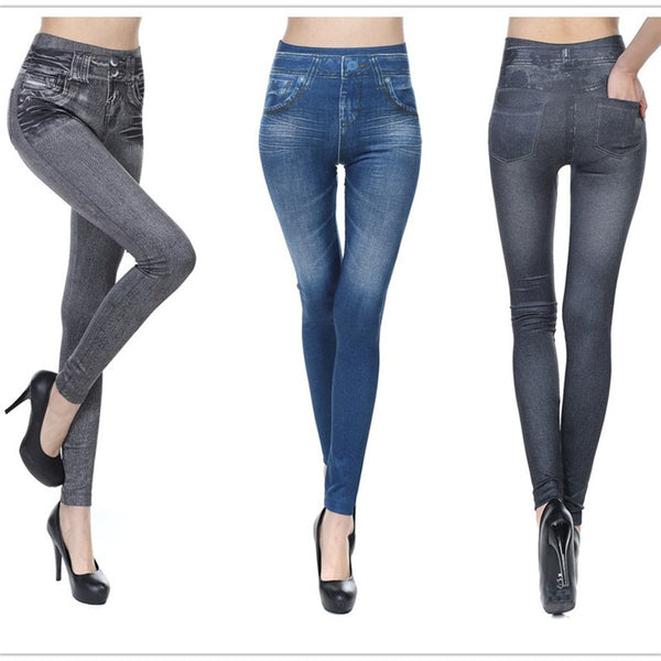 CHRLEISURE Big Size S-2XL Woman Jean Leggings