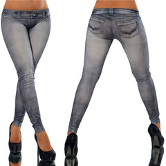 CHRLEISURE Big Size Vintage Denim Leggings