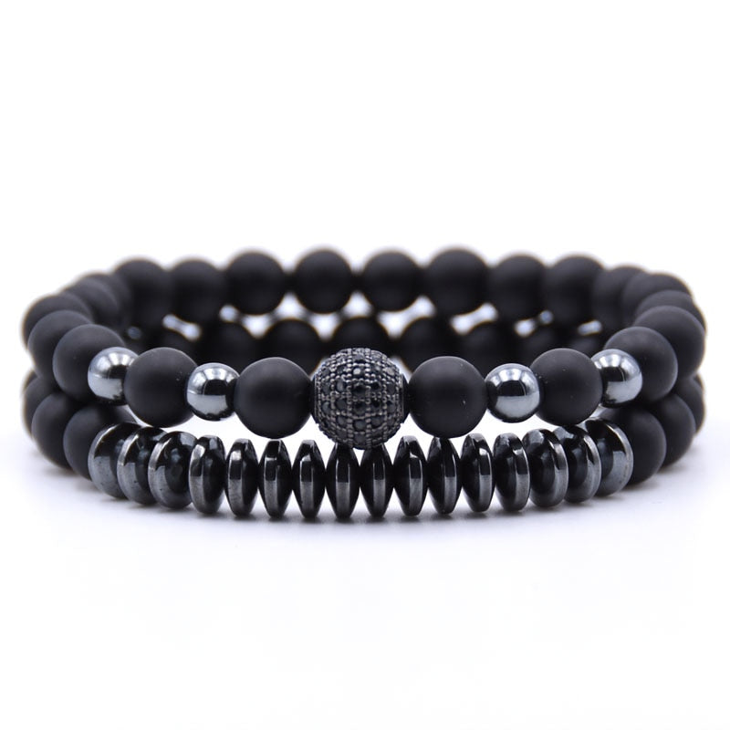 Matte Black Natural Stone Hematite Bracelet 2PCS/Set