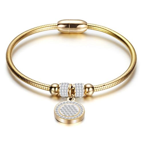 Womans Crystal Snake Chain Bangle Bracelet