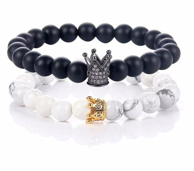 Couple Bracelet – King and Queen Crown (pair)