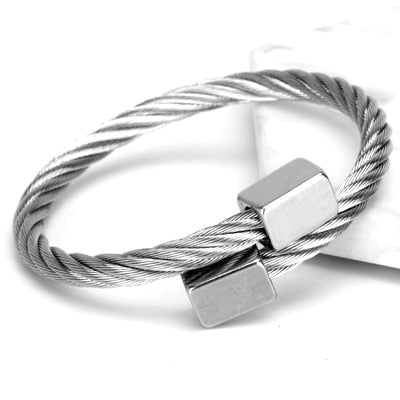 Stainless steel bangle Men bracelet Titanium Adjustable
