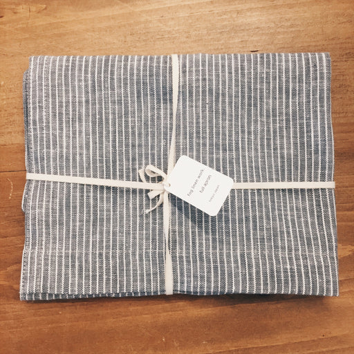 Fog Linen Work - Linen Apron Grey Stripe