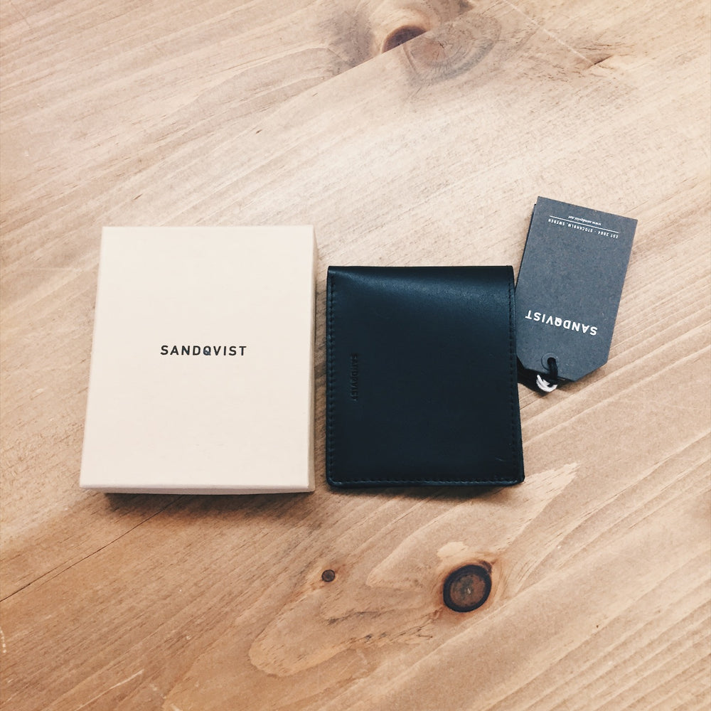 Sandqvist Leather Wallet with Zipper Black