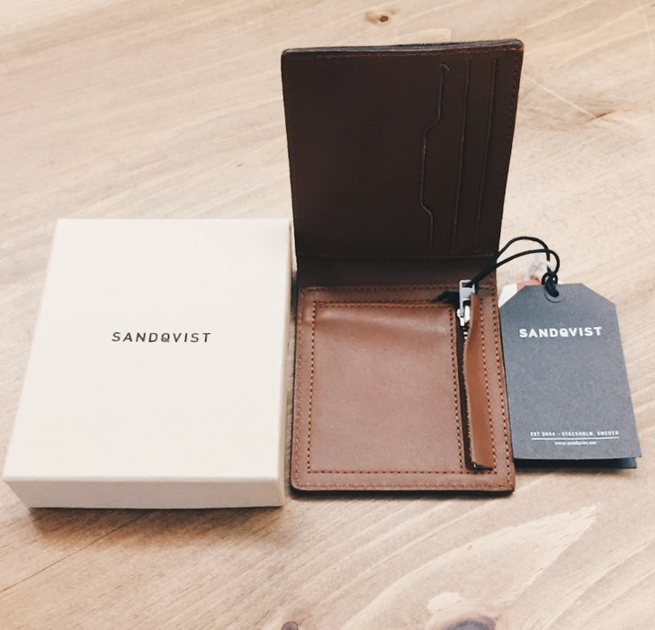 Sandqvist Leather Wallet with Zipper Brown