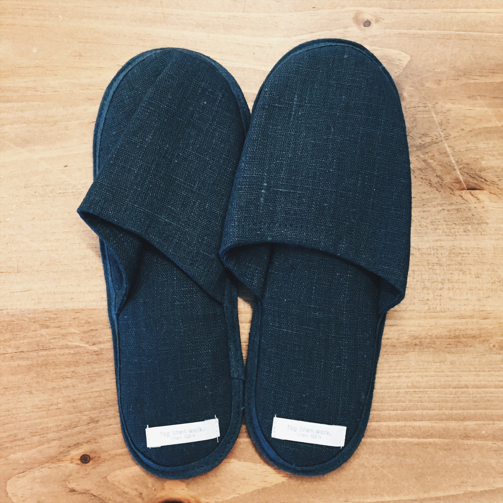 Fog Linen Work Slippers - Blue Linen Size Medium