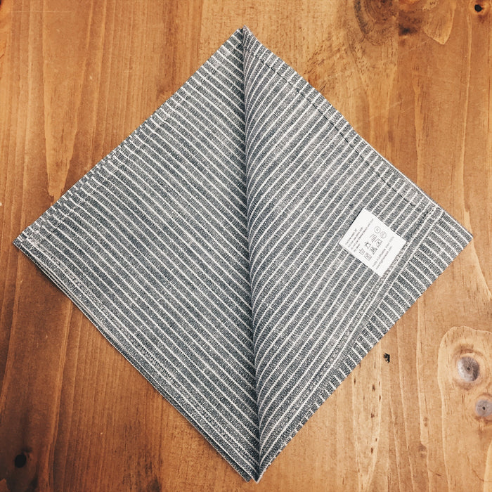 Fog Linen Work Chambray Linen Napkin Grey/White Stripe