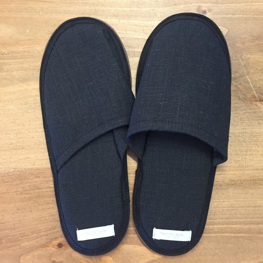 Fog Linen Work Slippers - Black Linen Size Medium