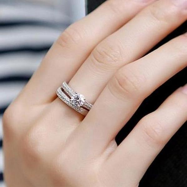 100% Sterling Silver Ring of Bravery™ with Eternity Band Set - Meyala