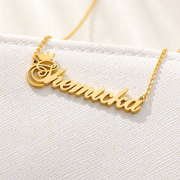Custom Name Necklace - Italic with Crown