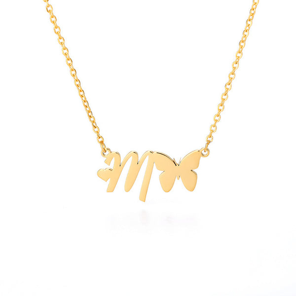 Butterfly Initial Necklace