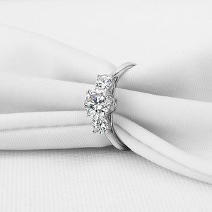 Triple Diamond Style White Gold Clad Silver Ring of Calmness™ - Meyala
