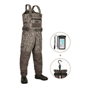 TideWe Breathable Insulated Chest Waders, 1200G Waterproof Bootfoot Duck Hunting Waders with Steel Shank Boots