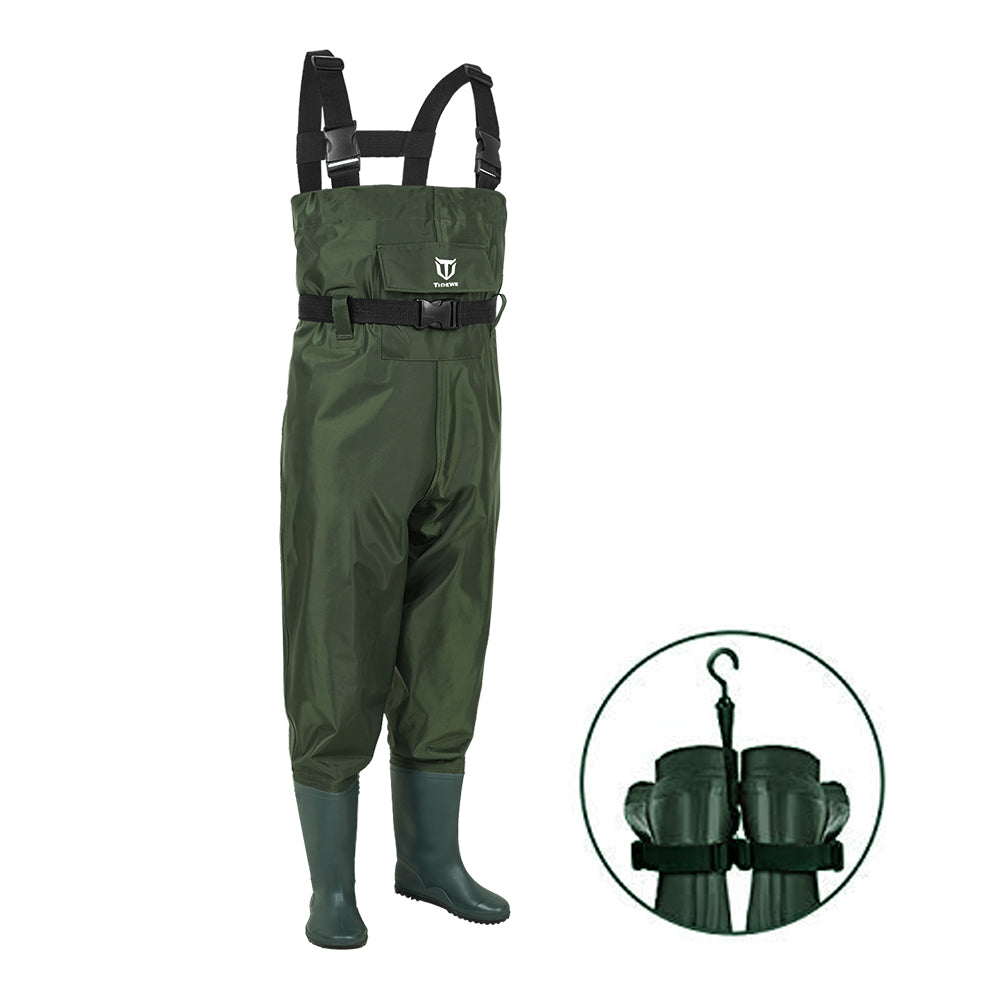 TideWe Chest Waders for Kids & Youth, Waterproof Youth Waders PVC Kids Chest Waders with Boot Hanger