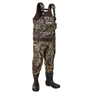 TideWe Hunting Wader 5mm Neoprene Fleece-Lined Chest Waders with 1600 Gram Insulation Rubber Boots