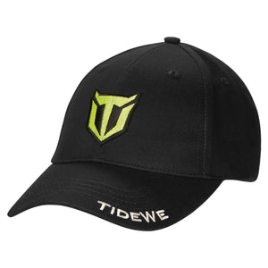 TideWe Brand Apparel Cap for Men and Women, Structured Front Black Baseball Hat with Adjustable Hook and Loop Closure