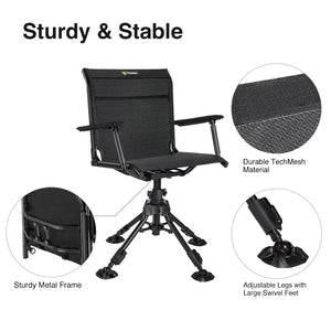 TideWe Hunting Chair 360 Degree Silent Swivel Blind Folding Chair, 4 Legs Adjustable Height Hunting Seats with Armrest