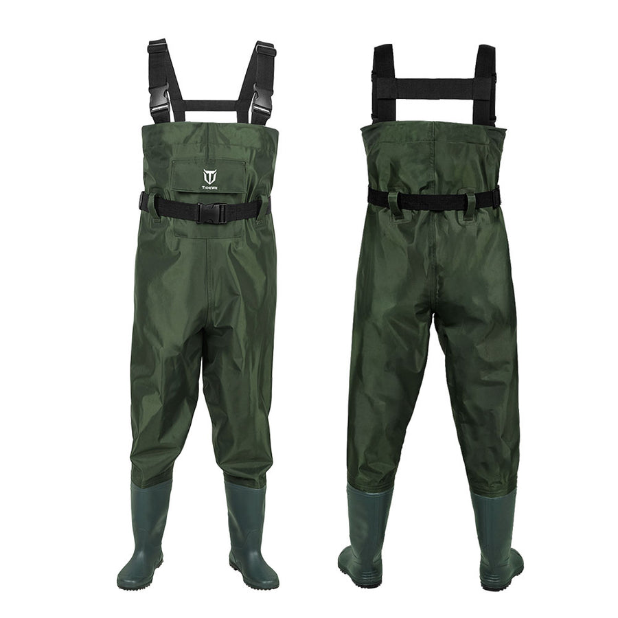 TideWe Chest Waders for Kids, Waterproof Youth Waders PVC Chest Waders with Boot Hanger