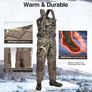 TideWe Breathable Insulated Chest Waders, 1600G Waterproof Bootfoot Duck Hunting Waders with Steel Shank Boots