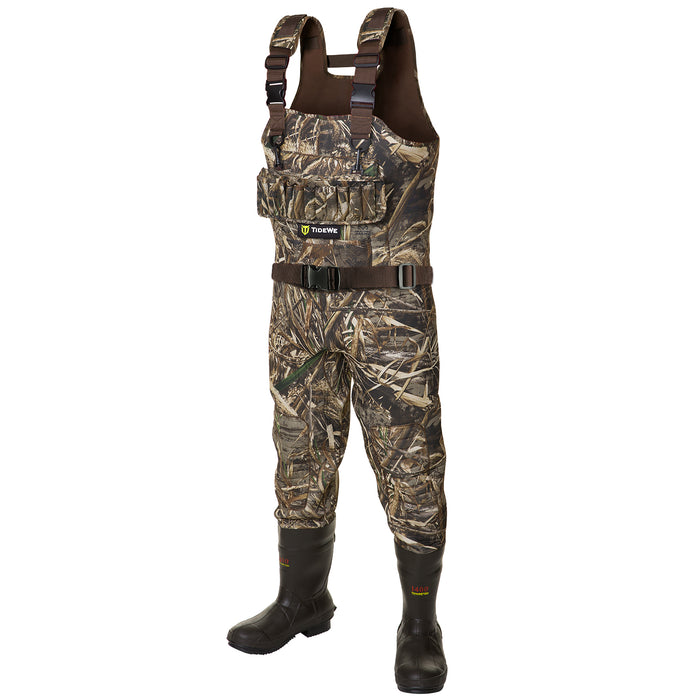 TideWe Hunting Wader, 5mm Neoprene Chest Waders with 1400 Gram Insulation Rubber Boots