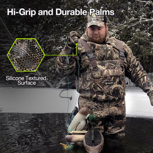 TideWe Decoy Gloves with Silicone Textured Surface, Waterproof Insulated 5mm Neoprene Men Duck Hunting Gloves
