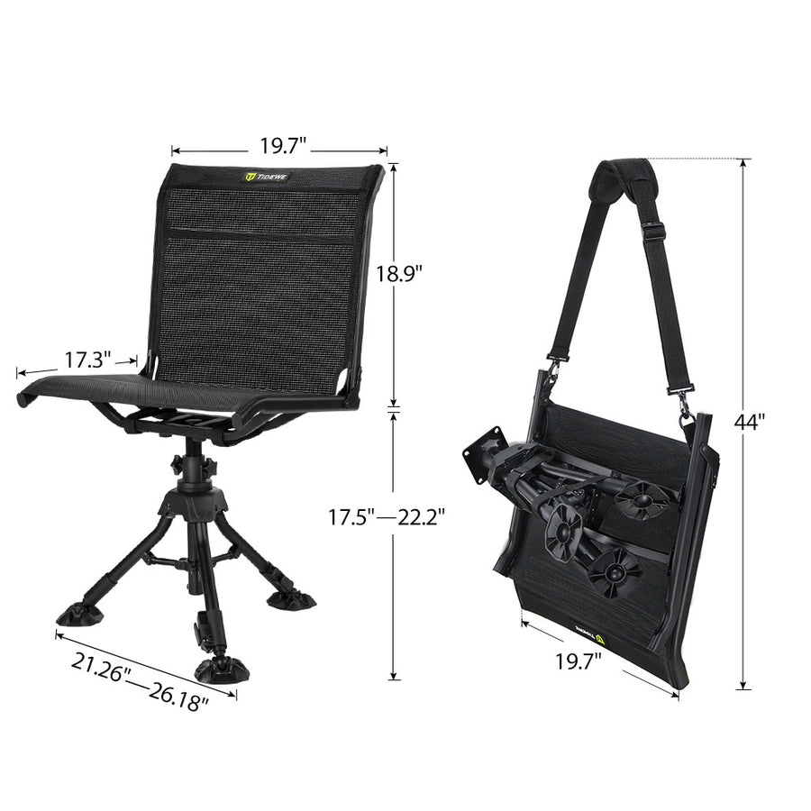 TideWe Hunting Chair 360-Degree Rotation Silent Swivel Blind Chair, Adjustable Height Fold Up 3 Legs Hunting Seats