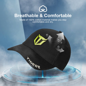 TideWe Brand Apparel Cap for Men and Women, Structured Front Black Baseball Hat