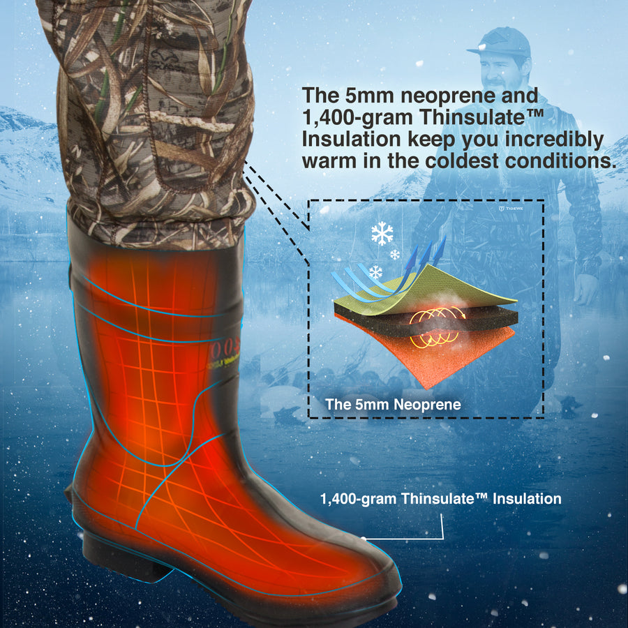 TideWe Hunting Waders, 5mm Neoprene Chest Waders with 1400 Gram Insulation Rubber Boots
