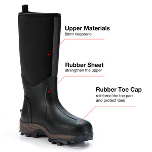 TideWe Rubber Neoprene Boots Men and Women Waterproof Durable 6mm Hunting Boots (GerII)