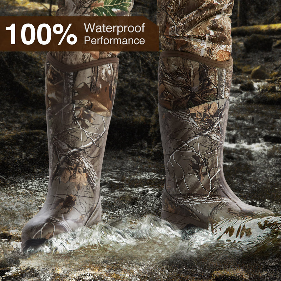 TIDEWE 800g Insulated Hunting Boots for Men, Waterproof  Warm Muck Rubber Boots with 7mm Neoprene