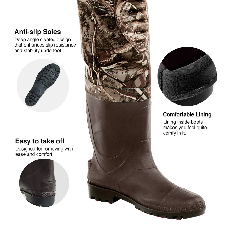 TideWe Chest Waders with Boots Hanger, Realtree MAX5 Camo Neoprene Hunting Fishing Bootfoot Waders